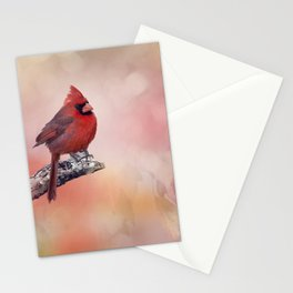 Male  Northern Cardinal perching on a branch Stationery Cards
