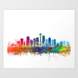 Seattle Skyline Watercolor 2 by Zouzounio Art Art Print