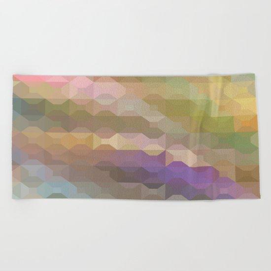 Soft Colored Rainbow Geometric Design Beach Towel
