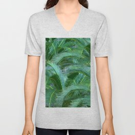 ABSTRACTED BLUE-GREEN TROPICAL PALMS GREEN ART Unisex V-Neck