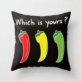 Three Hot Chili Peppers, Which is your? Throw Pillow