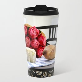 French Baguette and Cheese on a Paris Balcony Travel Mug