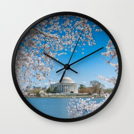 Jefferson Memorial under Cherry Blossoms Wall Clock