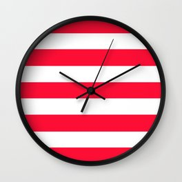 Tractor red - solid color - white stripes pattern Wall Clock