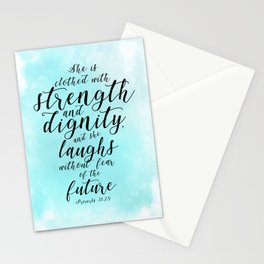 "Proverbs 31:25: ""She is clothed with strength and dignity and she laughs without fear of the future"" Stationery Cards"