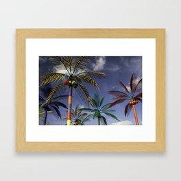 Plastic Palm Trees against Blue Sky Framed Art Print