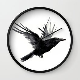 Raven, Flying Raven, Tribal Raven, Crow art black and white Wall Clock