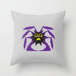 Spooky Spiders - Cute Moody Jim Cartoon Spider on Web Throw Pillow
