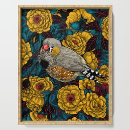 Zebra finch and rose bush Serving Tray