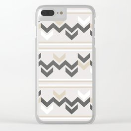 Geometric Arrowhead Charcoal Gold And White Grunge Pattern Clear iPhone Case