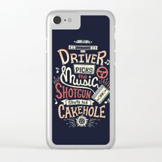 Driver picks the music Clear iPhone Case