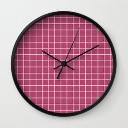 Raspberry rose - violet color - White Lines Grid Pattern Wall Clock