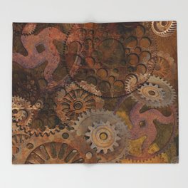 Changing Gear - Steampunk Gears & Cogs Throw Blanket