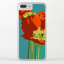 Poppies on Turquoise Clear iPhone Case