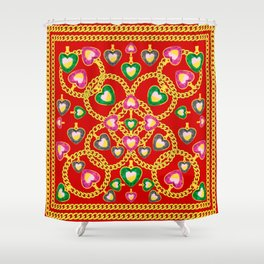 Fashion Print with Golden Chains and Jewelry Shower Curtain