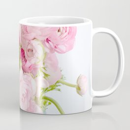 Dreamy Shabby Chic Ranunculus Peonies Roses Print - Spring Summer Garden Flowers Mason Jar Coffee Mug
