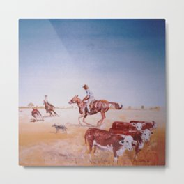Rousting the Cattle, AUSTRALIA         by Kay Lipton Metal Print