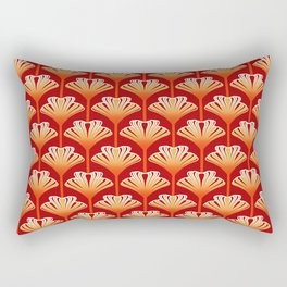 Art Deco Lily, Mandarin Orange and Gold Rectangular Pillow