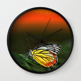 Butterfly Staring at Sunset Wall Clock
