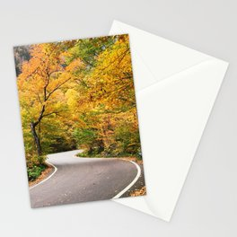 Winding Autumn Road Stationery Cards