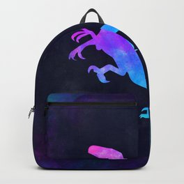 VELOCIRAPTOR IN SPACE // Dinosaur Graphic Art // Watercolor Canvas Painting // Modern Minimal Cute Backpack