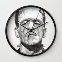 frankenstein Wall Clocks featuring Frankenstein by calibos