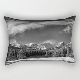 Rocky Mountan Park in Black and White Rectangular Pillow