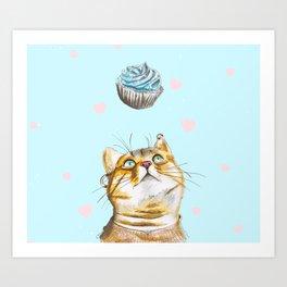 Cat Lover Cake Art Print