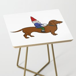 Gnome Riding a Dachshund Side Table