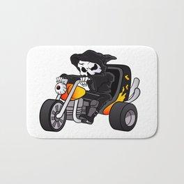 skull ride a big tricycle Bath Mat