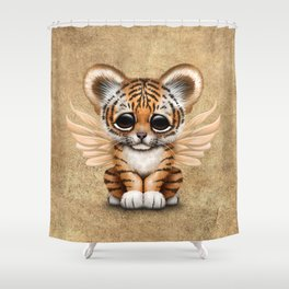 Cute Baby Tiger Cub with Fairy Wings  Shower Curtain