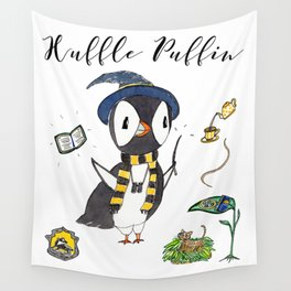 Huffle Puffin, HP, Fan Art, Puffins, Puffin, Illustration, Magic Wall Tapestry