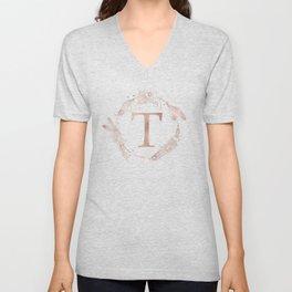 Letter T Rose Gold Pink Initial Monogram Unisex V-Neck