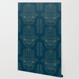 Hamsa Hand in Blue and Gold Wallpaper