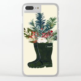 Christmas Boot Floral Bouquet No Text Clear iPhone Case