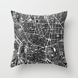 Madrid city map black&white Throw Pillow