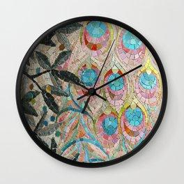 Peacock Pattern Mosaic art Wall Clock