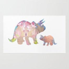 Fairytale Pink Castle Copper Glitter Dinosaur Rug