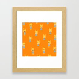 Shy Little Robot (orange) Framed Art Print