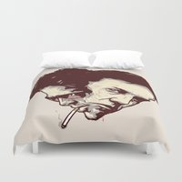 tyler spangler Duvet Covers featuring In Tyler We Trust by Duke Dastardly