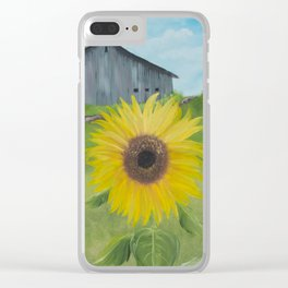 Sunflower with weathered barn Clear iPhone Case