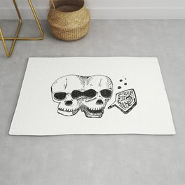 GEMINI - twins - conjoined skull zodiac series doodle Rug