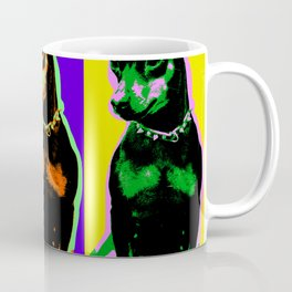 Poster with portrait of a miniature pinscher dog in pop art style Coffee Mug