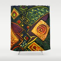 sparkles Shower Curtains featuring GALAXY SPARKLES by Deyana Deco