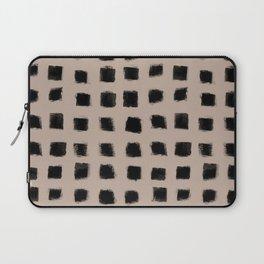 Polka Strokes - Black on Nude Laptop Sleeve