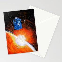 Tardis Art Time Flying Stationery Cards