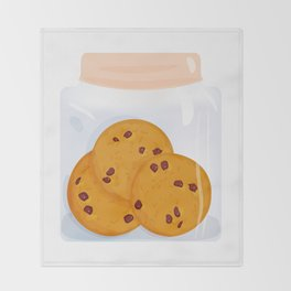 Chocolate chip cookie, homemade biscuit in glass jar Throw Blanket