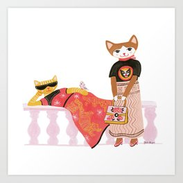 Fashionista Cats Art Print