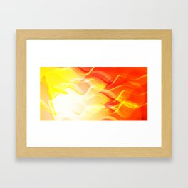 Theme of fire for the banner. Bright red and orange glare on a gentle background for a fabric or pos Framed Art Print