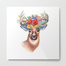 Watercolor Fairytale Stag With Crown Of Flowers Metal Print